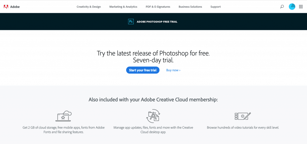 Adobe Photoshop Free Trial Page